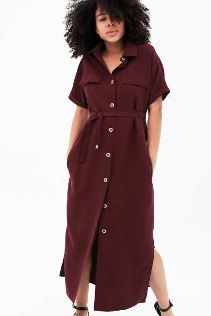 a9ef202399f76 Платье-рубашка для кормящих и беременных, бордовое - купить летние ...