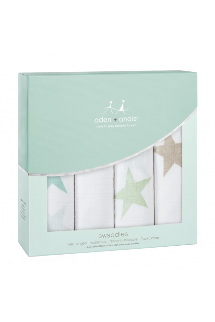 Муслиновые пеленки для новорожденных Aden&Anais большие, набор 4, Super Stars Scout
