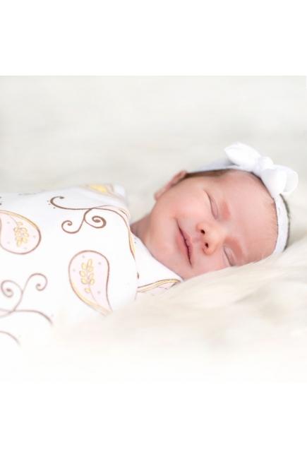 Фланелевая пеленка для новорожденного SwaddleDesigns Kiwi Mod on White