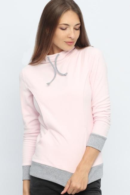 Толстовка для кормящих и беременных флисовая с завязками, цвет светло-розовая