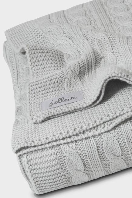 """Вязаный плед для новорожденных (косичка) Jollein, """"светло-серый"""", большой"""