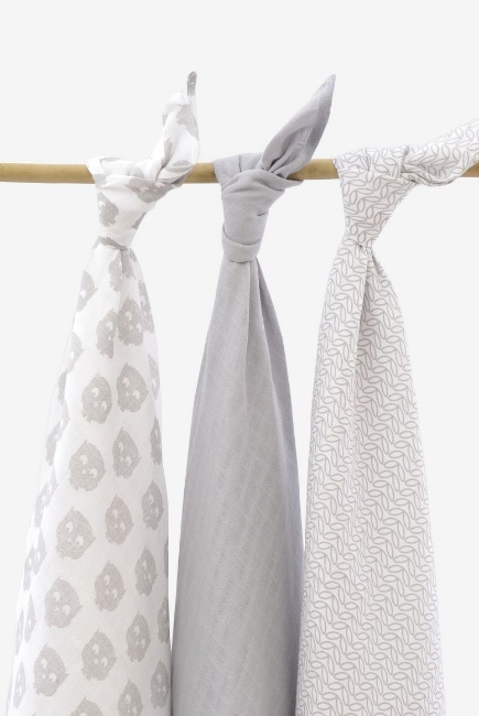 Муслиновые пеленки для новорожденных Jollein большие, Owl grey