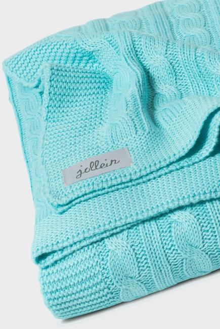 """Вязаный плед для новорожденных (косичка) Jollein, """"нефритовый"""", средний"""