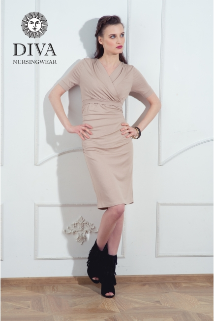 Платье для кормящих и беременных Diva Nursingwear Lucia кор.рукав, Grano