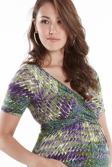 """Платье для кормящих Wrap Dress короткий рукав, принт """"Impasto Forest"""""""