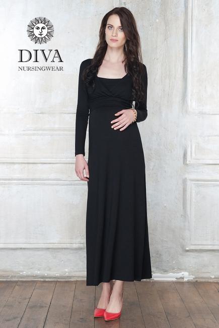 Платье для кормящих и беременных Diva Nursingwear Alba Maxi дл.рукав, цвет Nero