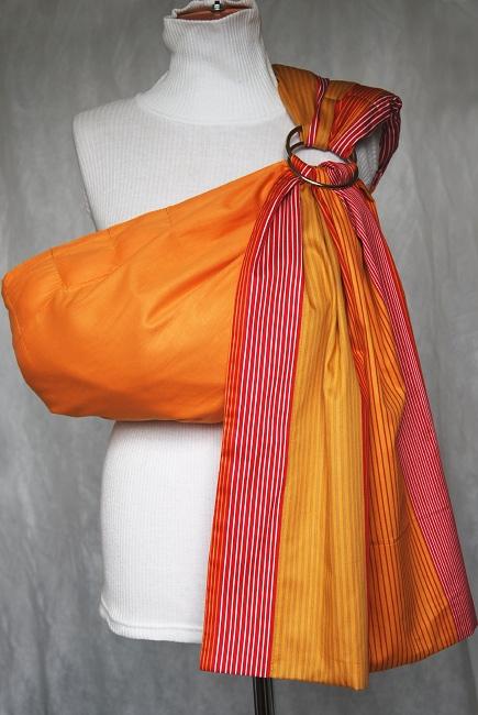 Слинг с кольцами Баюшка двуслойный, Оранжевые полоски