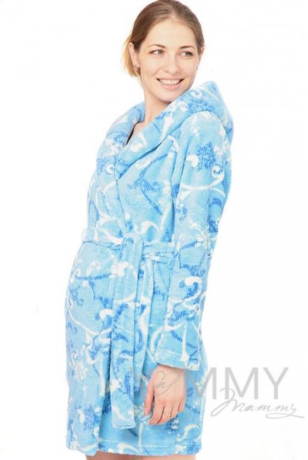 Халат для беременных мам голубой