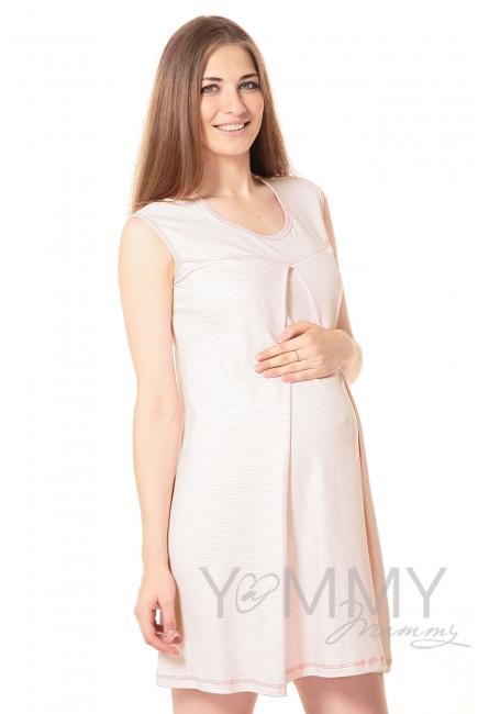 Комплект халат с сорочкой розовый/белая полоска