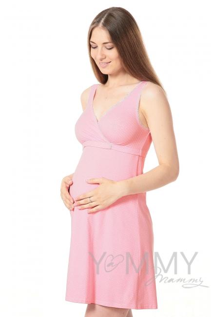 Ночная сорочка - топ розовая в белый горошек