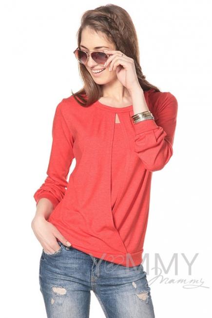 Блуза для беременных и кормящих с бантом, цвет красный мак