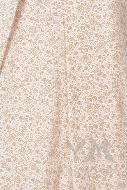 Комплект халат с сорочкой экрю/бежевые цветы