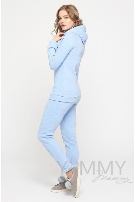 Костюм из худи и брюк, цвет голубой меланж