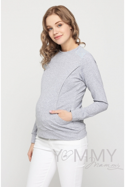 Свитшот для беременных и кормящих, серый меланж с кружевом