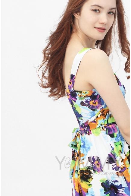 Платье-сарафан с лифом на запах крупные цветы для кормящих