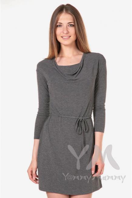 """Платье для беременных и кормящих с горловиной """"качелька"""", серый меланж"""