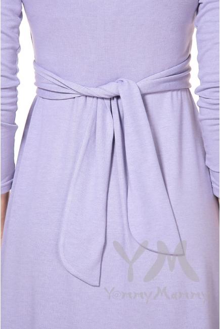 Платье для кормящих и беременных с широким поясом, лаванда