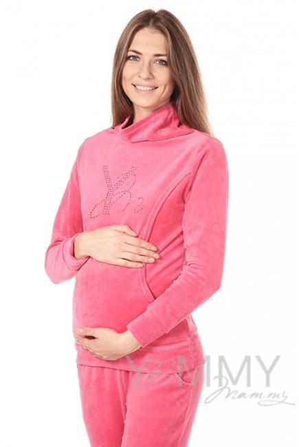 Толстовка для кормящих и беременных велюровая со стразами, цвет коралловая