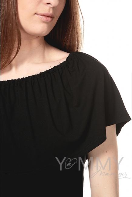 """Платье """"майка"""" с воланом на плечах черное для беременных"""