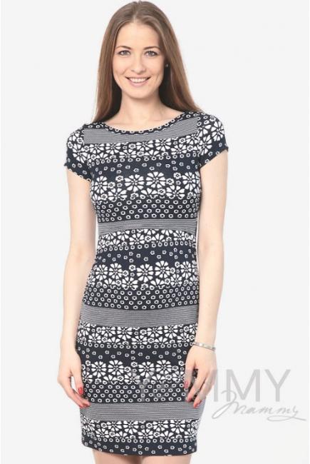 Платье для кормящих и беременных темно-синее с цветочным принтом