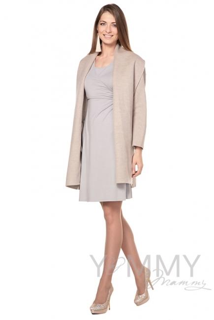 Платье на запах для кормящих и беременных, серый жемчуг