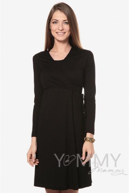Платье на запах для беременных и кормящих, черное
