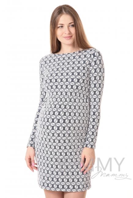 Платье-футляр синее с узором для беременных