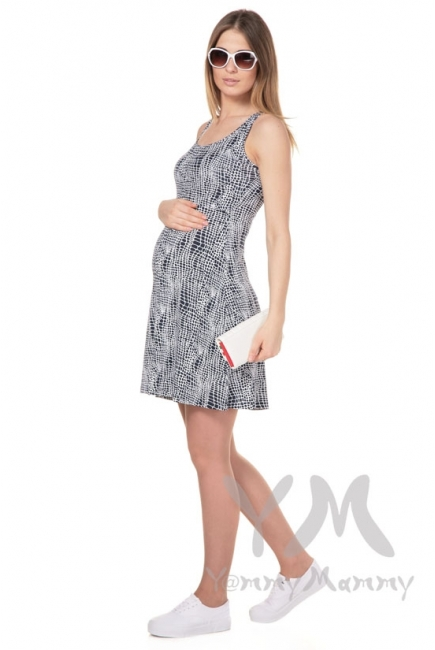 Платье-майка синий / белый рисунок для кормящих