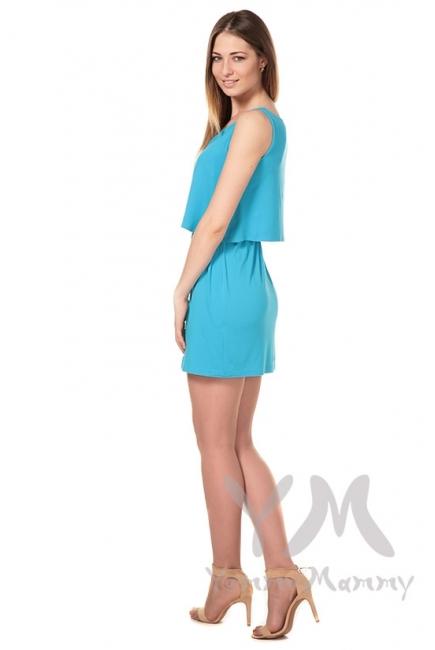 Платье двухъярусное бирюзовое для беременных