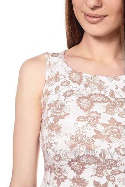 Платье с круглым вырезом и цветочным принтом экрю для беременных