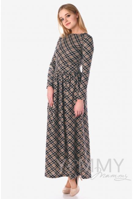 Платье для беременных и кормящих с карманами, в бежевую/темно-синюю клетку