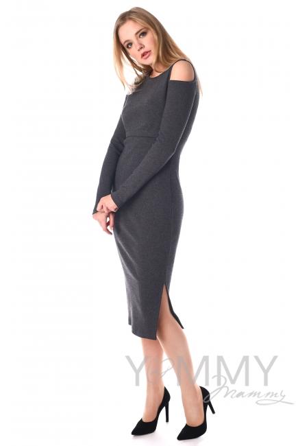 Платье миди с разрезами по бокам темно-серый меланж для кормящих