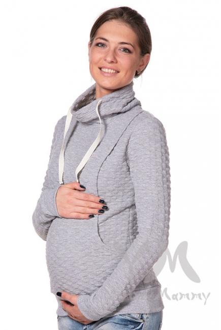 Толстовка с высоким горлом для кормящих и беременных, цвет серый меланж