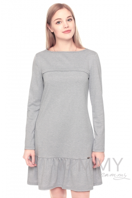 Платье с воланом жемчужное для кормящих