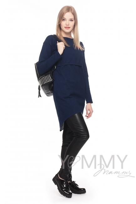Платье с длинным рукавом джинс для беременных
