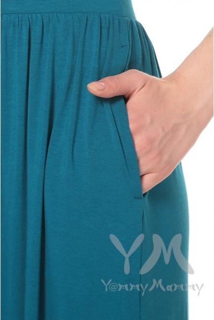 Платье длинное с карманам изумруд для кормящих