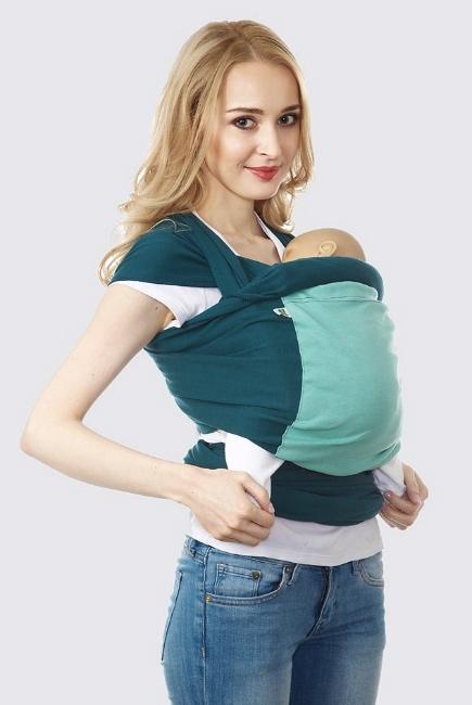 Слинг-шарф трикотажный Fusion, сине-зеленый