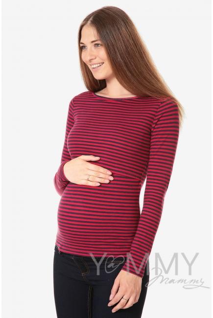 Лонгслив для кормящих и беременных, бордовый в синюю полоску