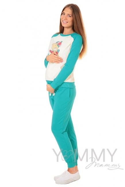 Универсальные спортивные брюки из футера ментол для беременных