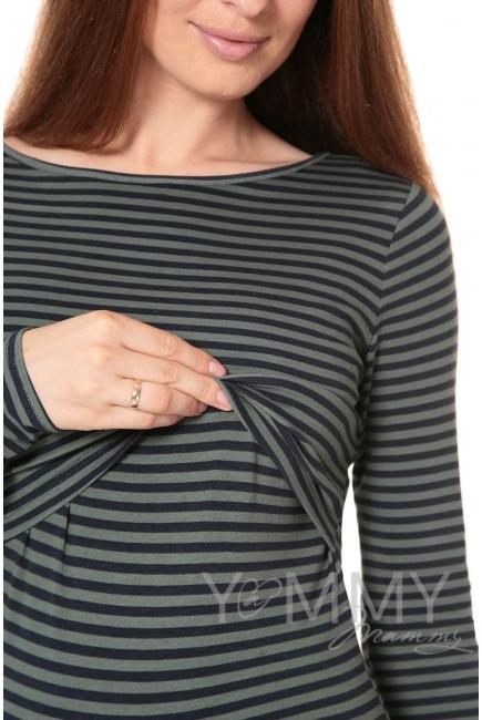 Лонгслив для беременных и кормящих, зеленый в синюю полоску