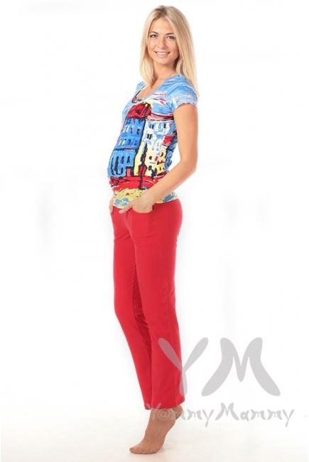 Брюки спортивные с широким поясом красные для беременных
