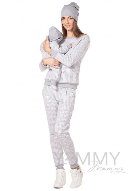 Универсальные спортивные брюки серые в горошек для беременных