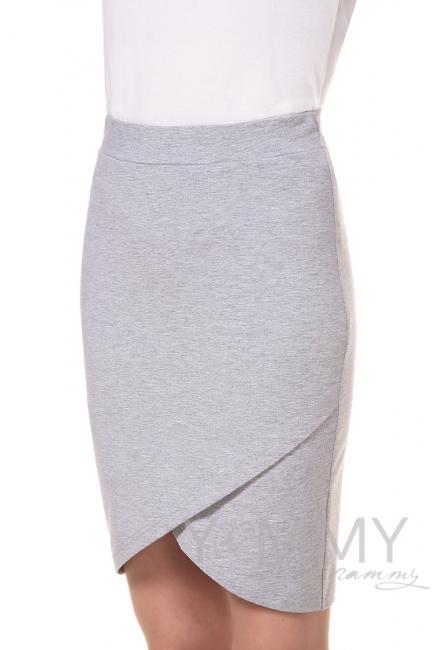 Юбка универсальная из футера светло-серый меланж для беременных