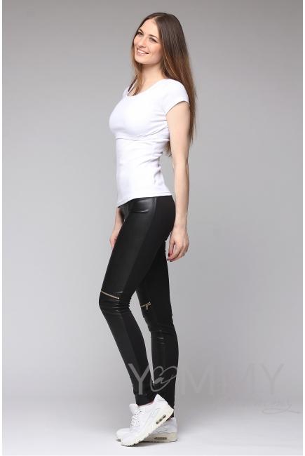 Универсальные брюки из эко-кожи черные с декоративными молниями для беременных