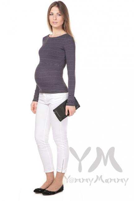 Лонгслив для беременных и кормящих, серый в черную полоску