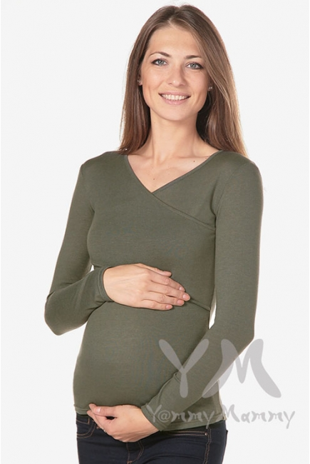 Лонгслив для кормящих и беременных, цвет хаки