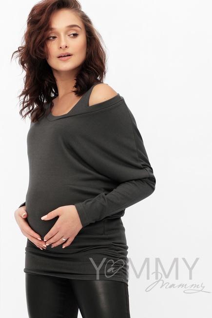 Блуза летучая мышь для кормящих и беременных, графит
