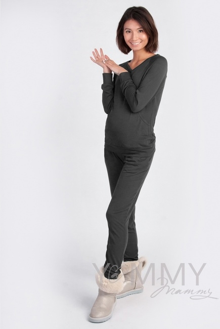 Костюм для кормящих и беременных из джемпера и брюк, графит
