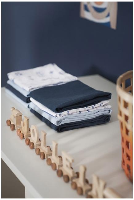 Муслиновые пеленки для новорожденных Jollein большие, navy/light blue/ light grey