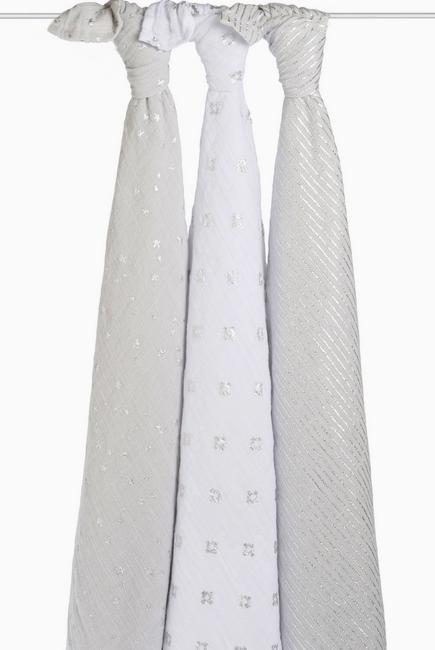 Муслиновые пеленки для новорожденных Aden&Anais мерцающие большие, набор 3, Metallic Charm